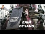 À Nantes, la mort de Steve symbolisée par une fontaine rouge sang