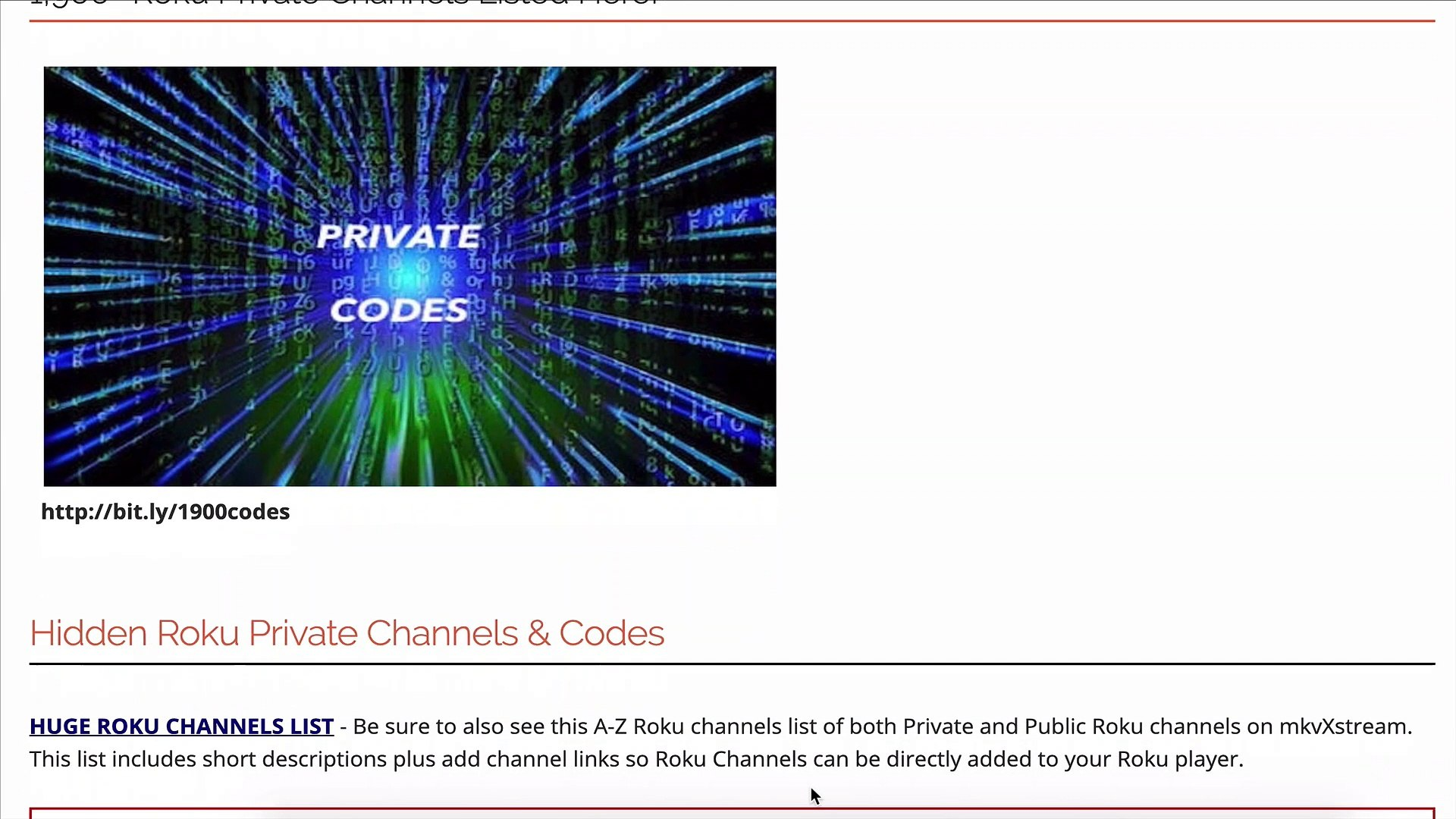 1900 Roku Private Channel Codes