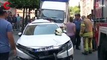 Eyüpsultan'da freni patlayan kamyon 9 aracı biçti
