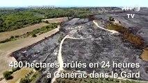 Incendies dans le Gard: images aériennes des dégâts