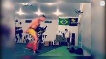 The Brazilian UFC wrestler Michel 'Demolidor' Pereira trains by doing Matrix somersaults