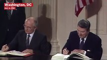 President Ronald Reagan And Mikhail Gorbachev Sign The INF Treaty In 1987