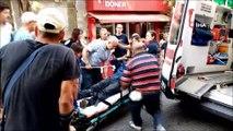 Yürüme engelli vatandaş karşıya geçerken düşüp yaralandı