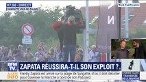 Traversée de la Manche: Franky Zapata vient d'installer son Flyboard sur la plateforme de décollage à Sangatte