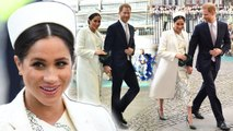 Duchess Meghan Stuns In White Victoria Beckham Dress For Commonwealth Day Service With Prince Harry