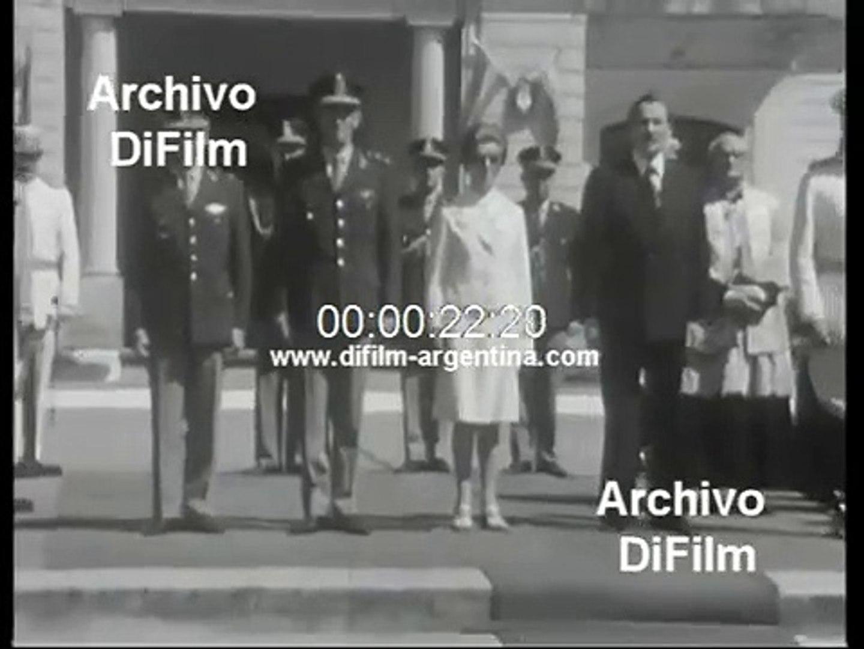 Maria Estela Martinez de Peron visits the Military College 1974