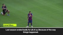 (Subtitled) 'This season we will put up a fight' Messi gives motivational speech before Arsenal clash