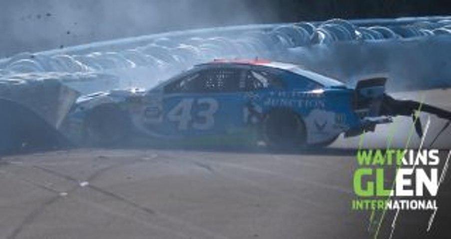 Bubba Wallace backs into tire barrier