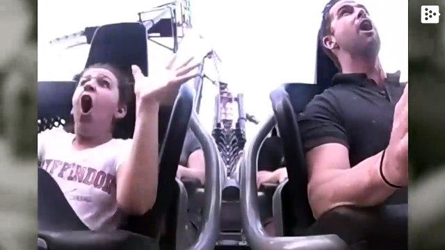 A bird crashes into a girl on a roller coaster