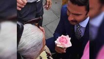 Ranveer Singh gives flower to old lady in London; Video goes viral on social media | FilmiBeat