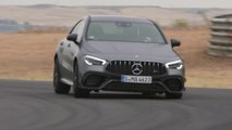 Mercedes-AMG CLA 45 S 4MATIC+ in mountain gray Driving on the track