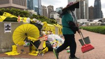 Hong Kong cleans up after a citywide rampage with clashes between police and anti-government protesters