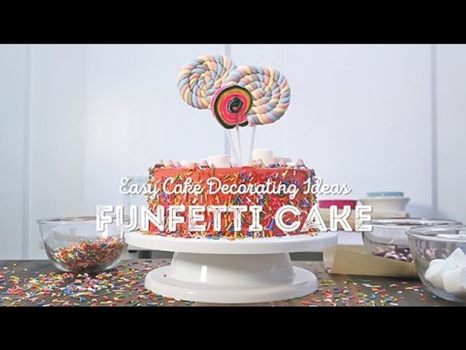 Admirable Easy Cake Decorating Ideas Funfetti Cake Video Dailymotion Birthday Cards Printable Nowaargucafe Filternl