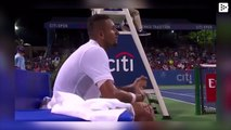 Tennis player Nick Kyrgios throws a bottle of water against the referee's chair during a match and is justified with an unexpected excuse