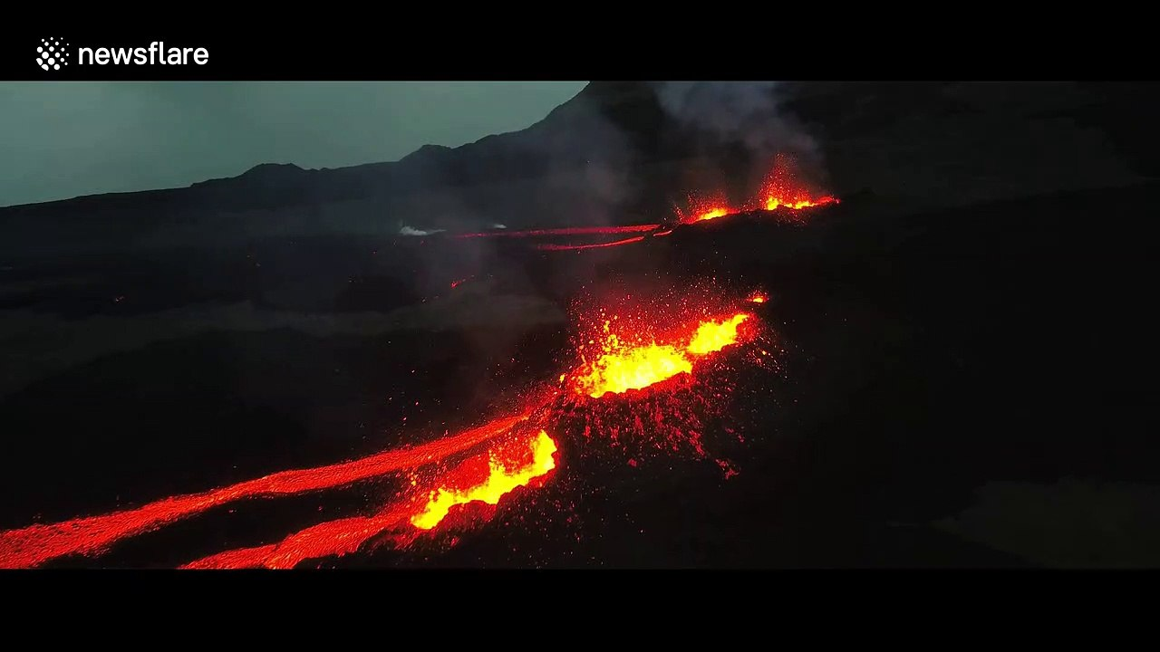 Boiling lava gushes out from erupting volcano on Reunion island