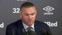 Wayne Rooney faces the media at Derby County after confirming player-coach role