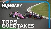 Top 5 Formula 2 Overtakes - 2019 Hungarian Grand Prix