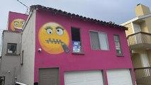Hot pink emoji house ignites feud among Los Angeles neighbors