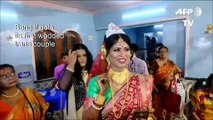 Indian transgender couple tie the knot in a traditional ceremony