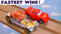 Hot Wheels Fastest Wins with Disney Pixar Cars 3 Lightning McQueen vs Toy Story 4 and Spongebob characters in this Racing Challenge Full Episode English