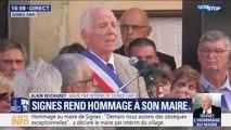 """Signes: """"Aujourd'hui, les citoyens se sont rassemblés pour rendre hommage à Jeannot"""" (maire par intérim)"""
