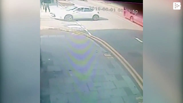 Cyclist flies out and his bicycle is split in two after being rammed by a car in London