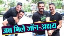 Akshay Kumar enjoys with John Abraham during Mission Mangal & Batla House's promotion | FilmiBeat