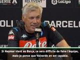 """Naples - Ancelotti : """"Si Neymar vient au Barça, ce sera difficile de faire l'équipe"""""""
