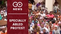 Massive Protest By Specially Abled Persons
