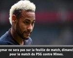 Ligue 1: PSG - Neymar ne jouera pas contre Nîmes