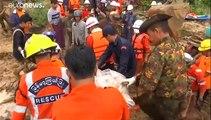 Un deslave mortal sepulta a decenas de personas en una aldea de Myanmar