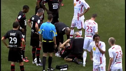 14/08/10 ASNL-SRFC : grave blessure Fabien Lemoine (17')