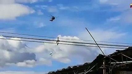 Impactante caída de militares en un helicóptero en Medellín