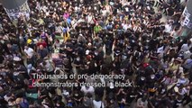 Sea of black at Hong Kong airport protest