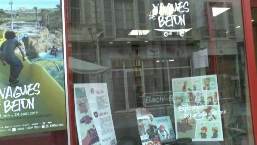 MICHOU W-D.D. AMATEUR D'ART - 10 AOUT 2019 - PAU - VAGUES DE BÉTON À BACHI BOUZOUK - ERWANN LA LOI DU SKATEPARK EXPOSITION DE PLANCHES TIRÉES DE LA BD