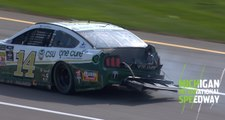 Bowyer slams wall on Stage 3 restart at Michigan