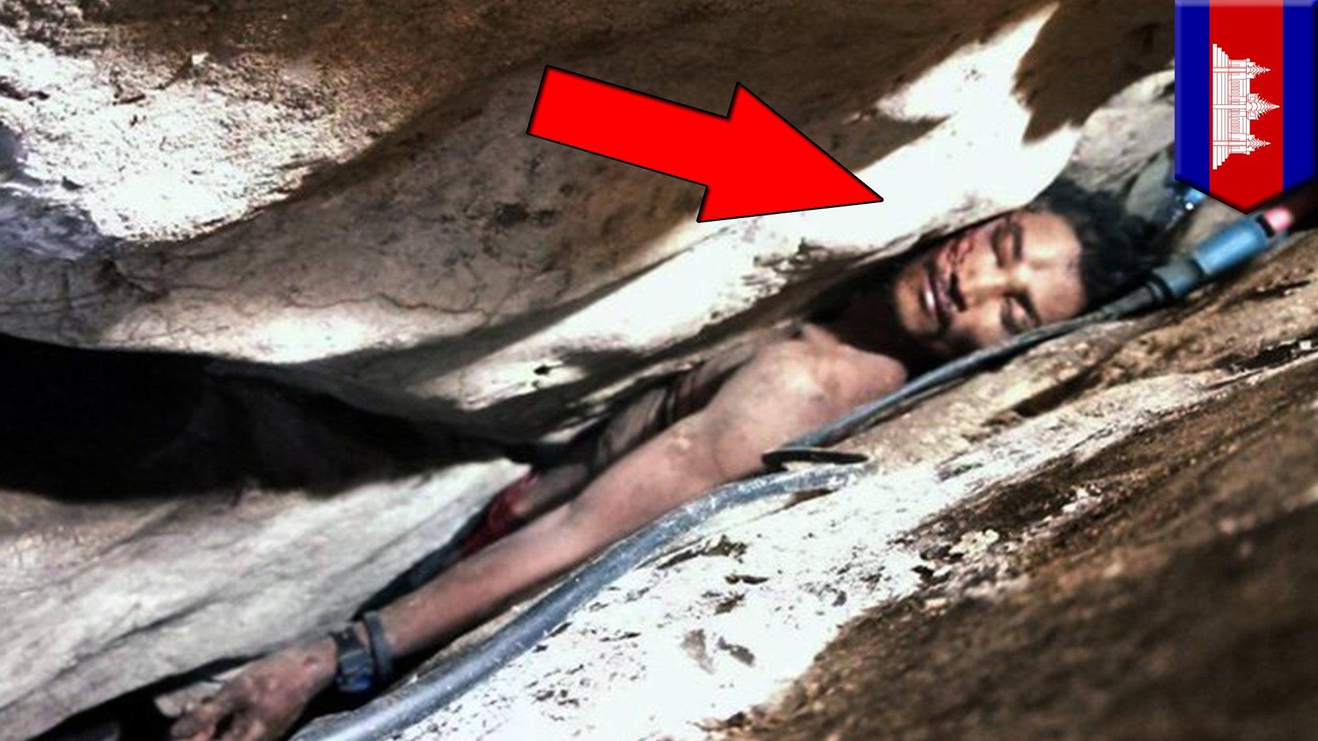 Pria Kamboja terjepit diantara batu dalam gua selama 4 hari - TomoNews