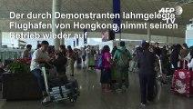Hongkonger Flughafen nimmt Betrieb wieder auf