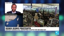 Hong Kong airport cancels departing flights for second day as protests continue