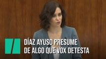 Díaz Ayuso presume de algo que Vox detesta