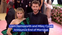 Liam Hemsworth And Miley Cyrus Are Done