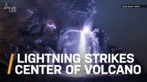 Incredible Shot of Lightning Strike in Center of Erupting Volcano