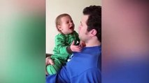 Parents Are HERO ★ Daddy's Beard Make Baby Feel Angry When He Kisses