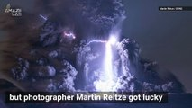 Wow! Rare Lightning Bolt Strikes at Center of Volcanic Eruption