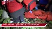 Uludağ'da yaralanan arkadaşını yaprak ve dallardan 'yorgan' yaparak korudu