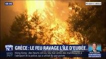 Un incendie ravage l'île d'Eubée en Grèce: les habitants évacués