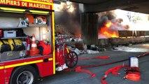 Marseille : feu de détritus sous la rampe du métro Bougainville