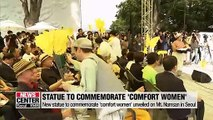 New statue to commemorate 'comfort women' unveiled on Mt. Namsan