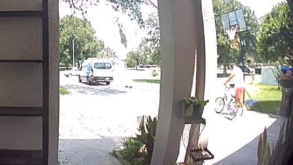 Amazon Delivery Man Snatches Up Bicycle Along His Route