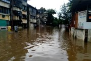 Rain water in residential areas in the old Sangavi area